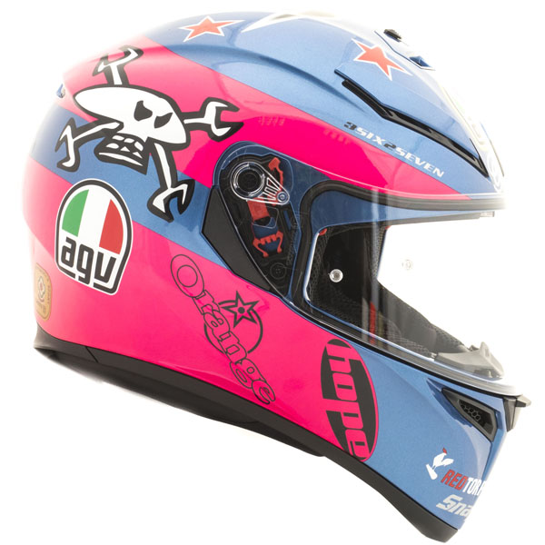 agv k3 sv guy martin pink blue - Pink Motorcycle Helmets Showcase