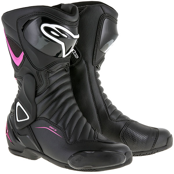alpinestars stella boots smx 6 v2 black white fuchsia - Ladies Motorcycle Boots Guide