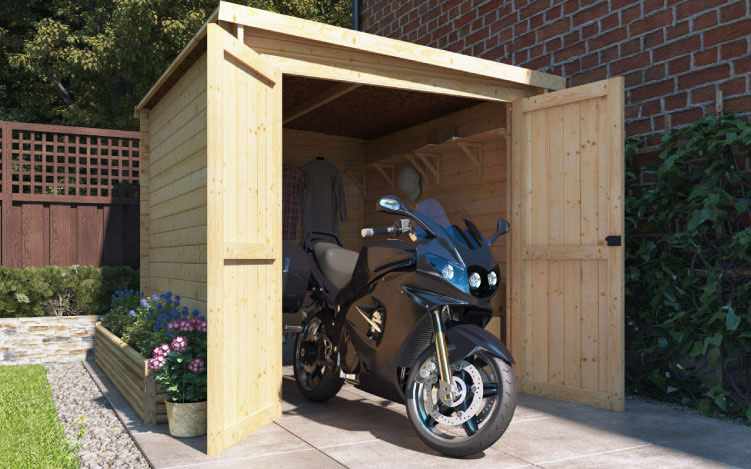 premium motorbike store wooden garage 7x9 - The Best Motorcycle Sheds