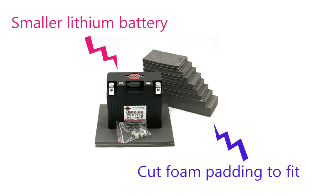 motorcycle battery padding smaller - Lithium Motorcycle Batteries